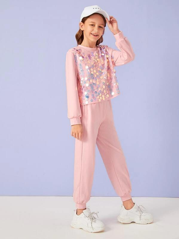 Girls Sequin Patched Pullover & Sweatpants Set