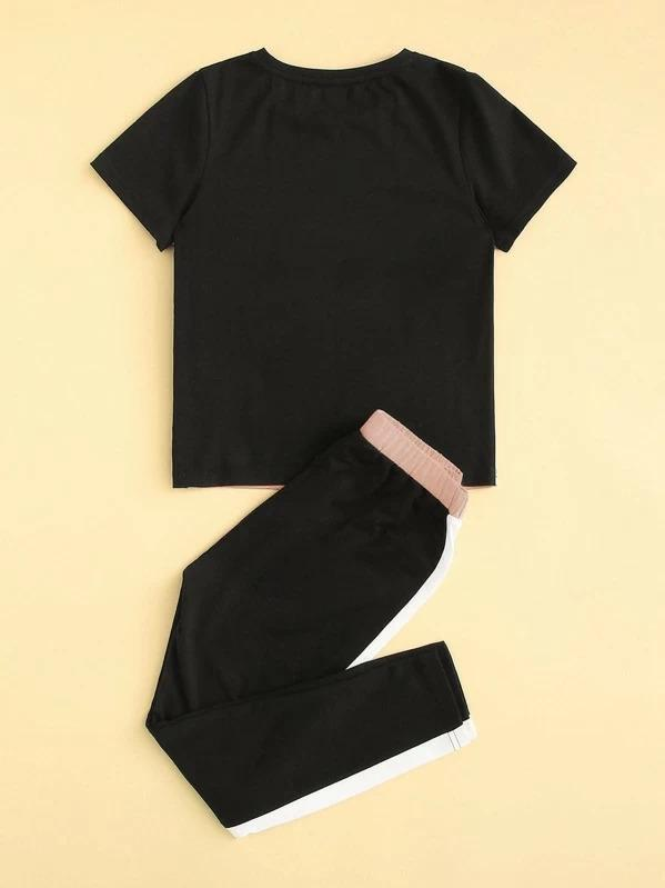 Girls Sequin Pocket Patched Color-Block Top & Pants Set