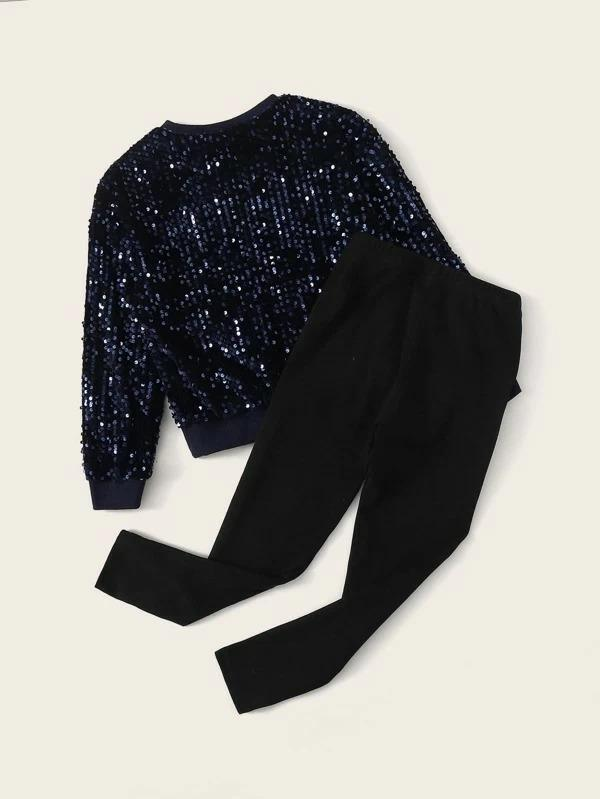 Girls Sequin Pullover And Leggings Set