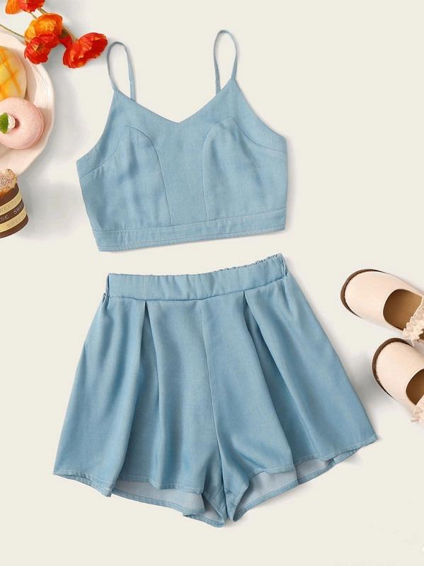 Girls Shirred Back Cami Top & Pleated Shorts Set