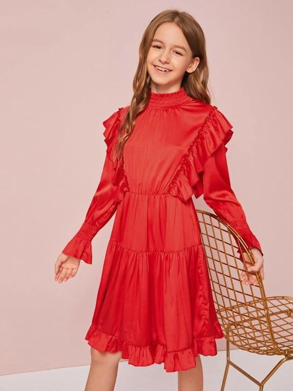 Girls Shirred Neck Ruffle Detail Satin Flare Dress