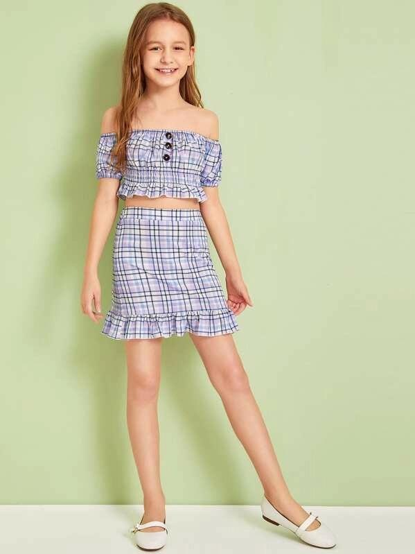 Girls Shirred Panel Tartan Bardot Top And Skirt Set