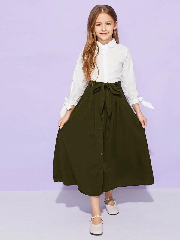 Girls Single Breasted Belted Skirt