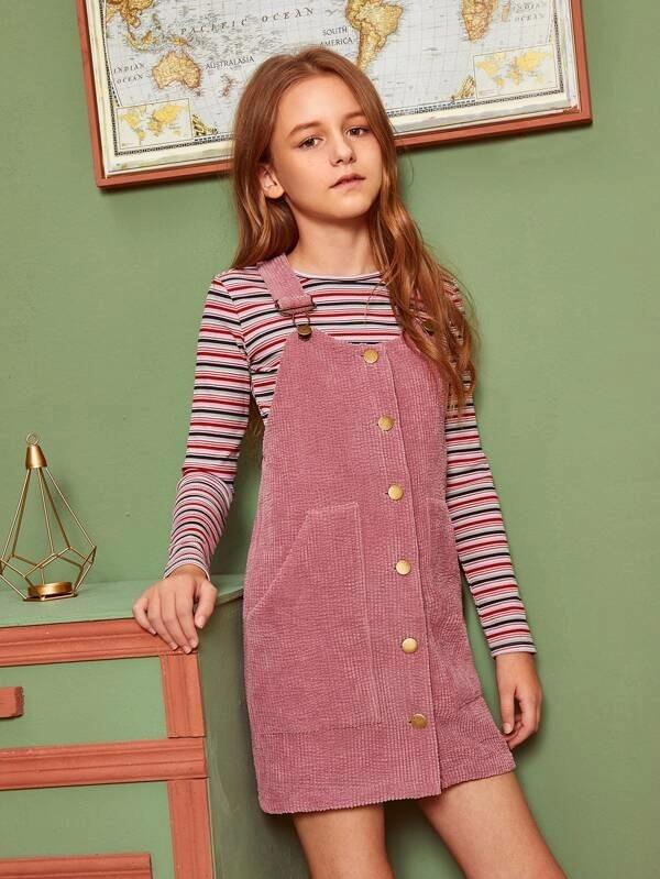 Girls Single Breasted Cord Pinafore Dress