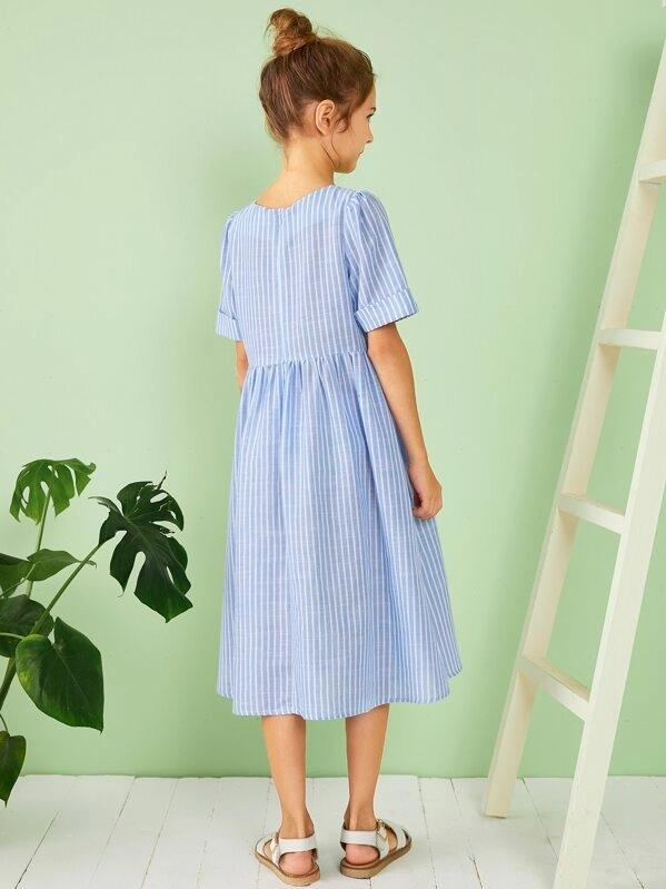 Girls Single Breasted Pocket Patched Striped Dress