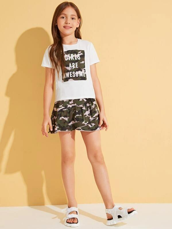 Girls Slogan And Camo Print Top & Ruffle Skirt Set