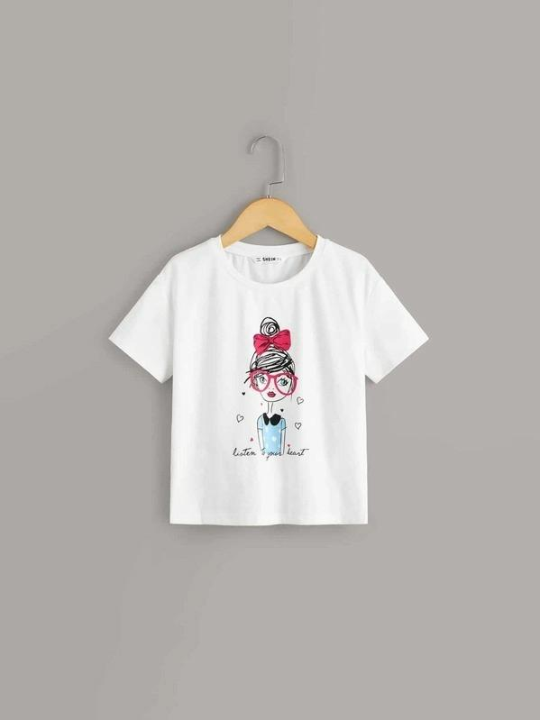Girls Slogan And Figure Print Top