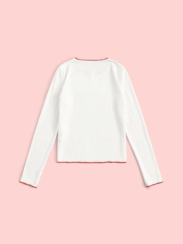 Girls Slogan Contrast Binding Rib-Knit Tee