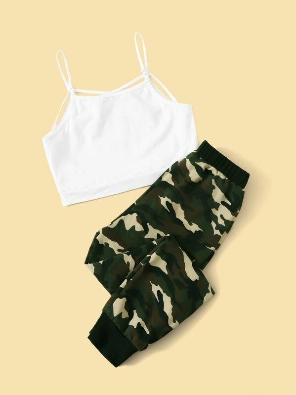 Girls Slogan Graphic Cami & Camo Sweatpants Set