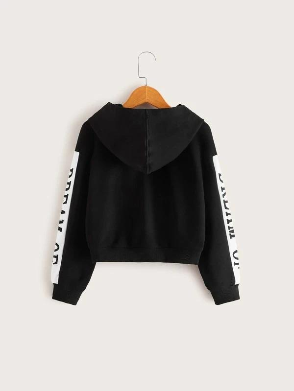 Girls Slogan Graphic Contrast Sideseam Hoodie
