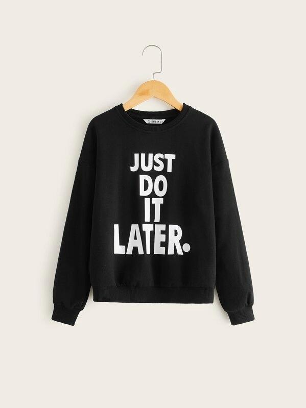 Girls Slogan Graphic Drop Shoulder Pullover