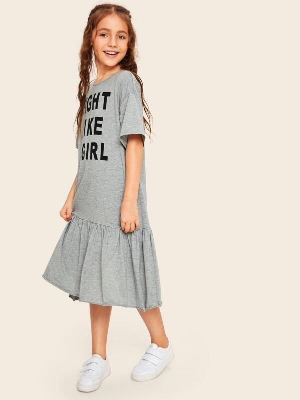 Girls Slogan Graphic Flippy Hem Dress