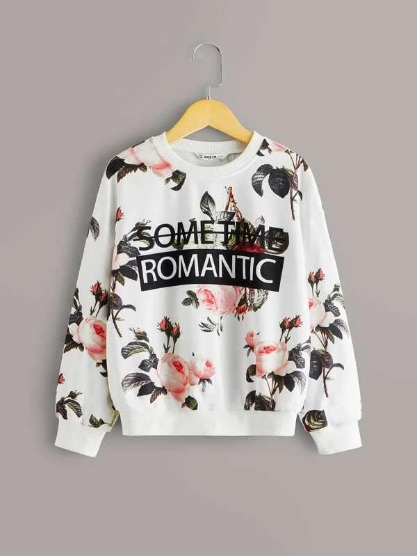 Girls Slogan Graphic Floral Print Pullover
