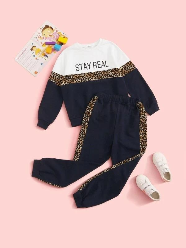 Girls Slogan Graphic Leopard Panel Pullover & Sweatpants Set