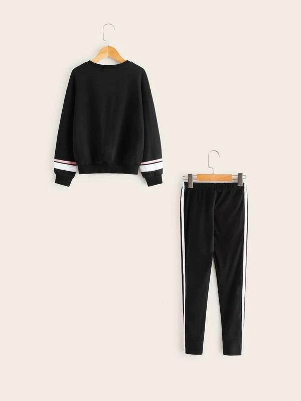 Girls Slogan Graphic Pullover & Sweatpants Set