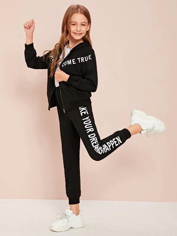 Girls Slogan Graphic Sweatshirt & Joggers Set