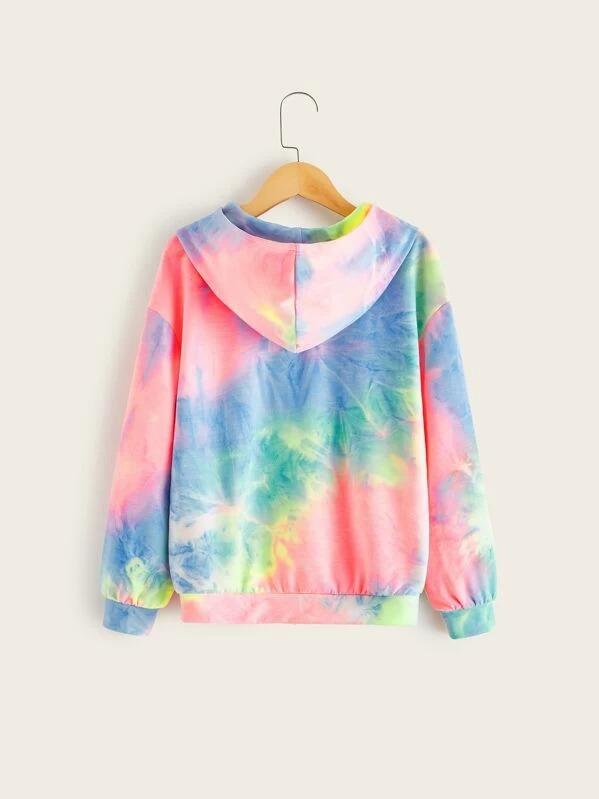 Girls Slogan Graphic Tie Dye Hoodie