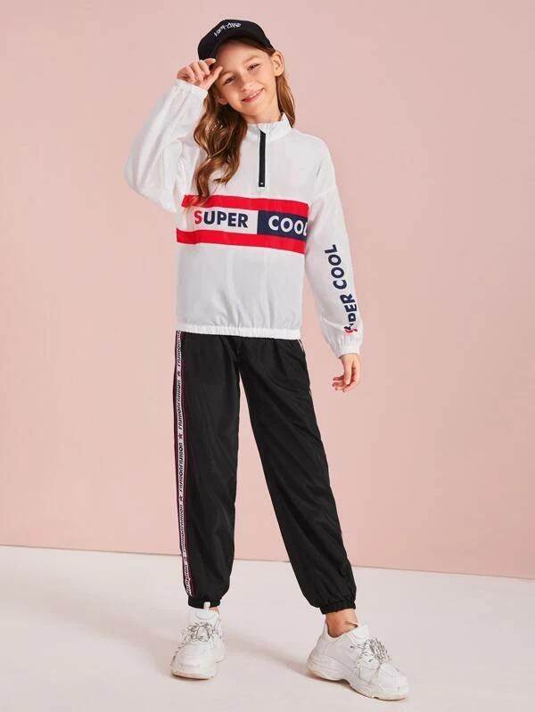 Girls Slogan Graphic Windbreaker Jacket & Tape Side Joggers Set