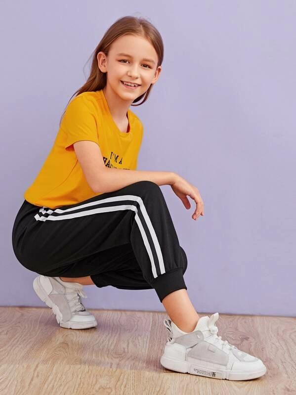 Girls Slogan Print Tee & Striped Tape Pants Set
