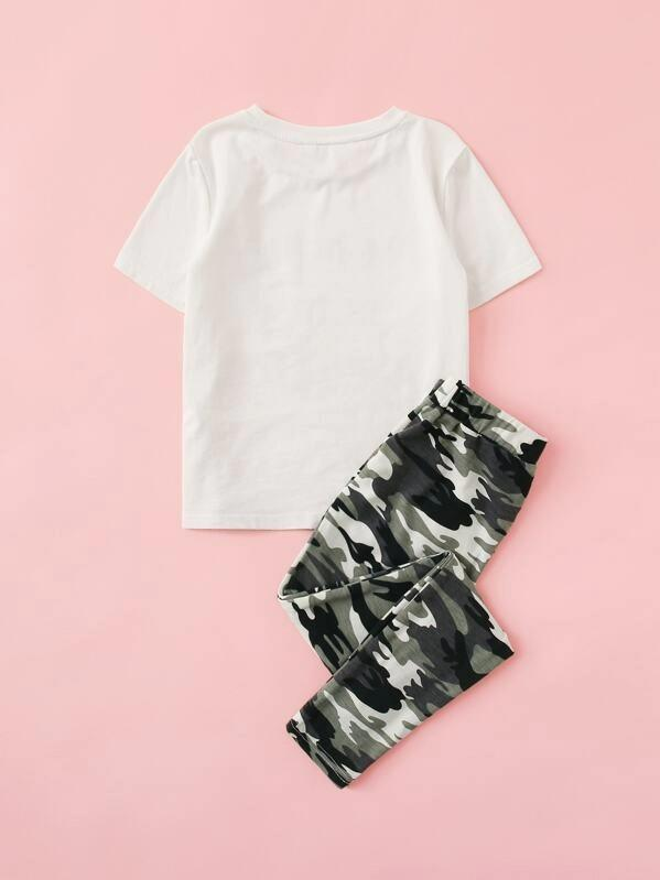 Girls Slogan Print Top & Camo Pants Set