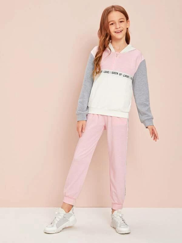 Girls Slogan Tape Detail Colorblock Hoodie And Joggers Set