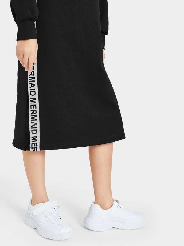 Girls Slogan Tape Side Split Sweatshirt Dress