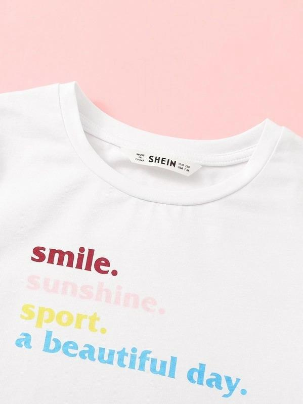 Girls Slogan Tee And Contrast Binding Dolphin Shorts Set