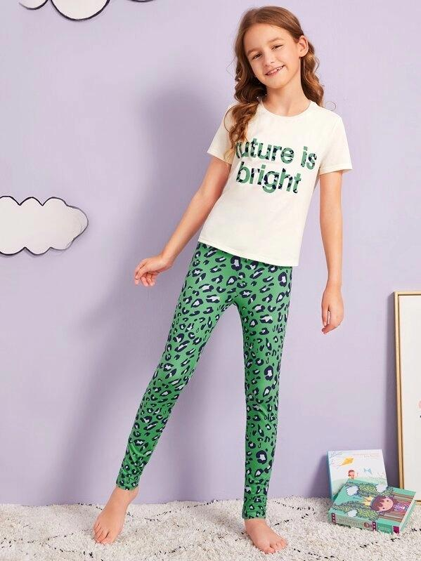 Girls Slogan Tee And Leopard Leggings PJ Set