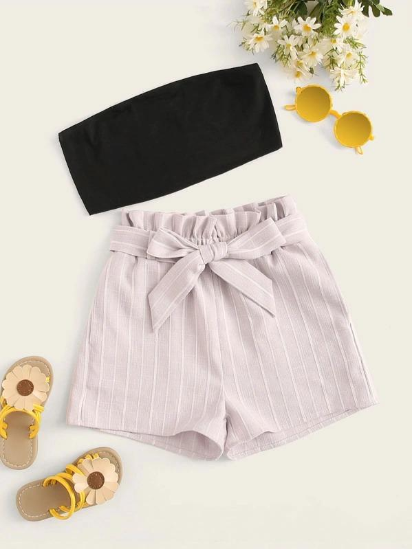 Girls Solid Bandeau & Paperbag Waist Striped Shorts Set