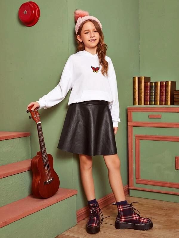 Girls Solid PU Leather Skirt