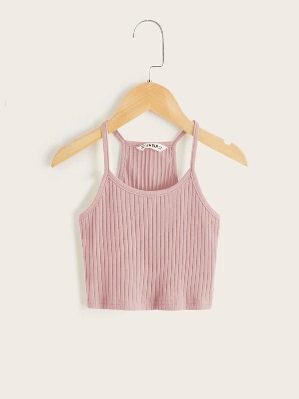 Girls Solid Rib-Knit Racerback Cami Top