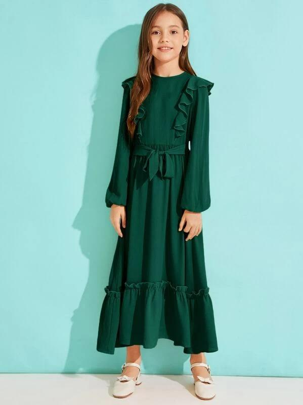 Girls Solid Ruffle Hem Belted Dress