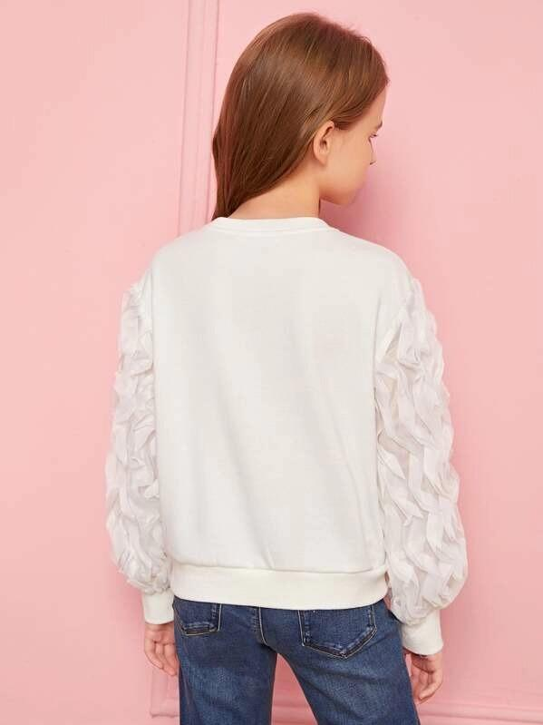 Girls Solid Ruffle Lantern Sleeve Pullover