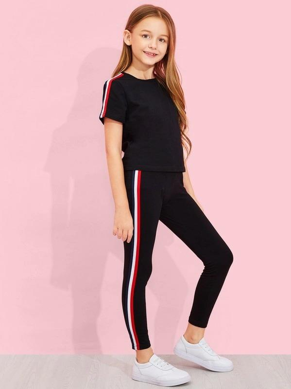 Girls Solid Striped Trim Top & Pants Set