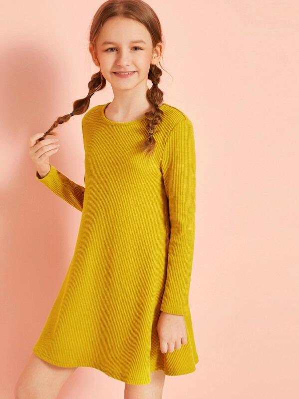 Girls Solid Textured Swing Dress
