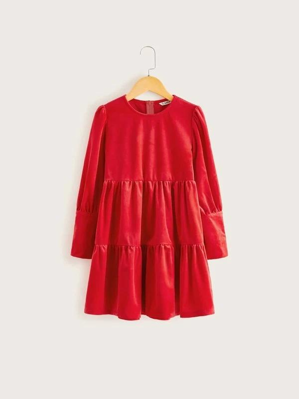 Girls Solid Velvet Smock Dress