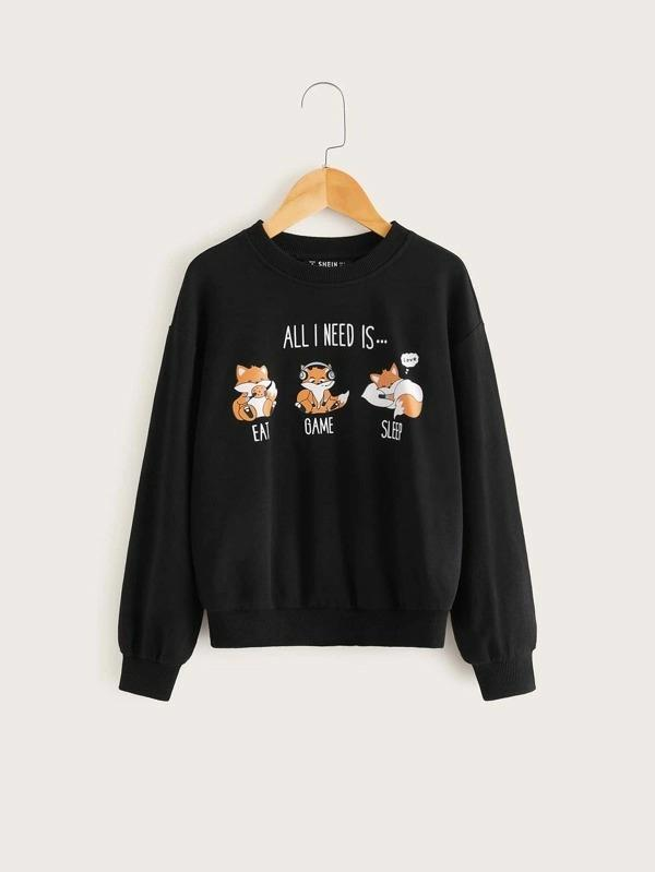 Girls Squirrel Print Pullover