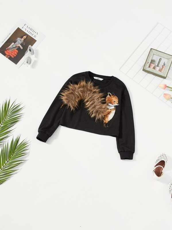 Girls Squirrel With Faux Fur Tail Sweatshirt