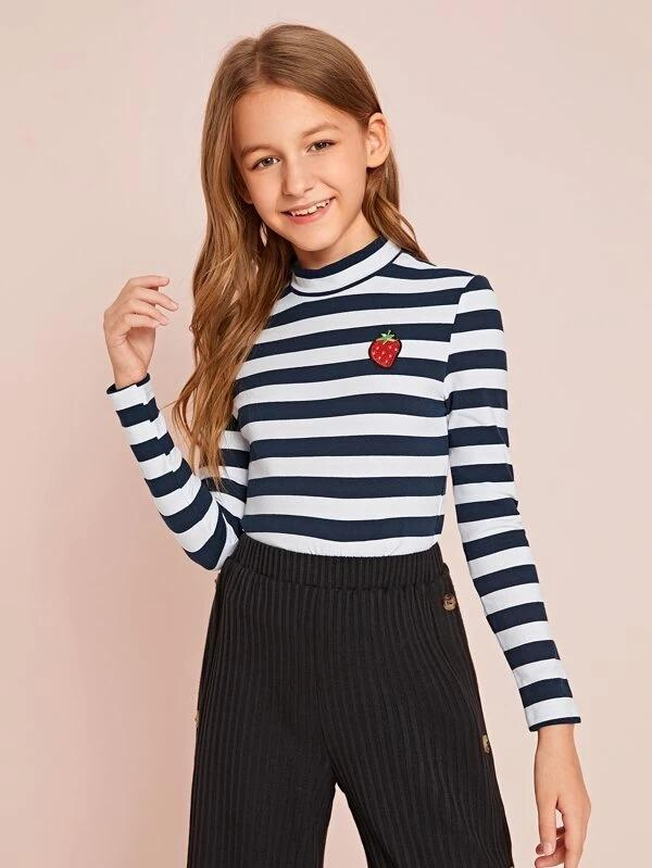 Girls Strawberry Embroidered Striped Tee