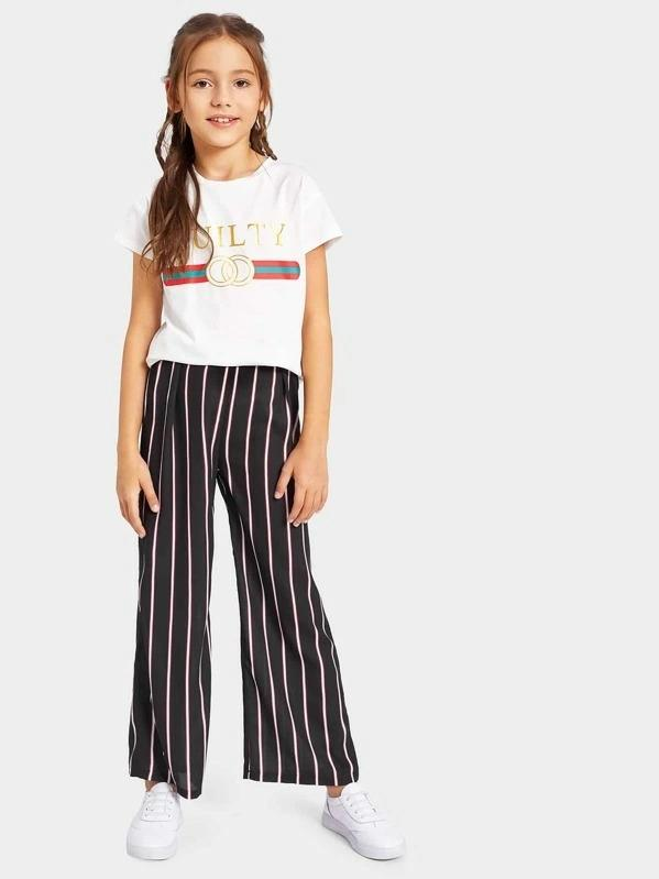 Girls Stripe & Letter Print Tee & Pants Set