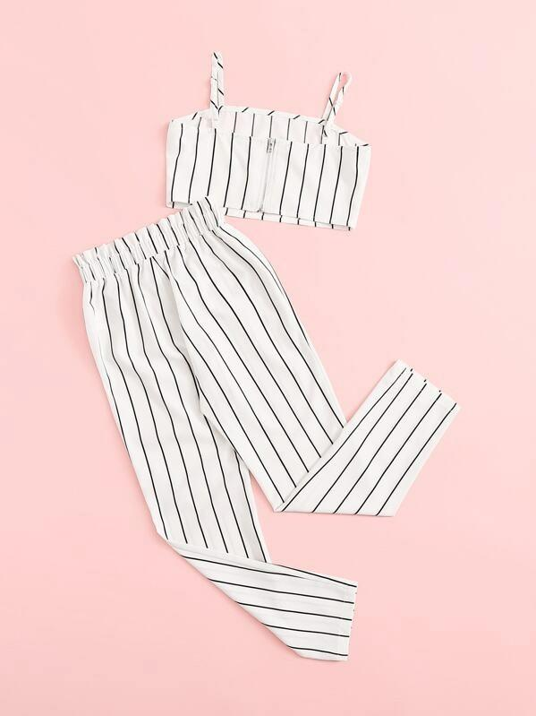 Girls Striped Cami Top & Pants Set
