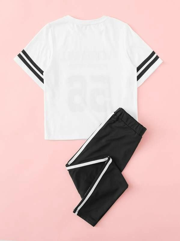 Girls Striped Cuff Lettering Top & Side Striped Pants Set