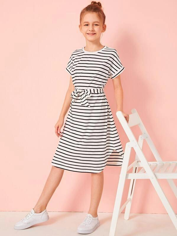 Girls Striped Curved Hem Belted T-Shirt Dress