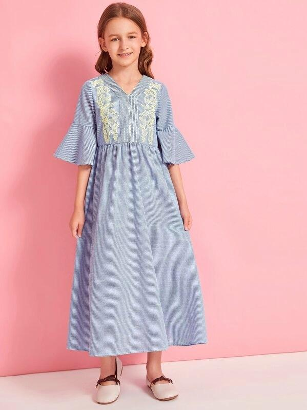 Girls Striped Embroidered Flounce Sleeve Dress