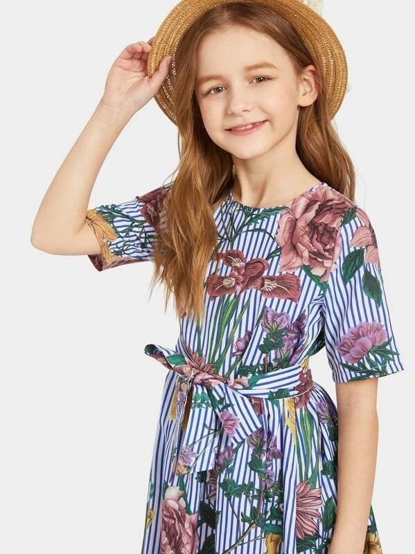 Girls Striped Floral Print Belted Dress
