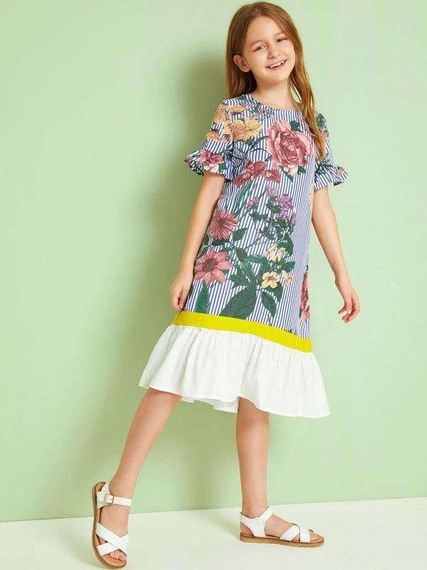 Girls Striped & Floral Print Ruffle Trim Dress