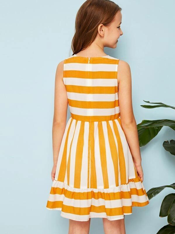 Girls Striped Flounce Hem Dress