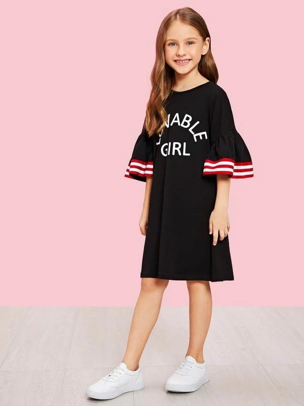 Girls Striped Flounce Sleeve Letter Graphic Dress