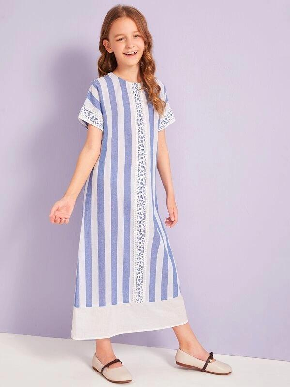 Girls Striped Guipure Lace Insert Tunic Dress