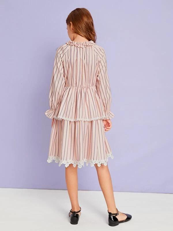 Girls Striped Guipure Lace Trim Layered Dress